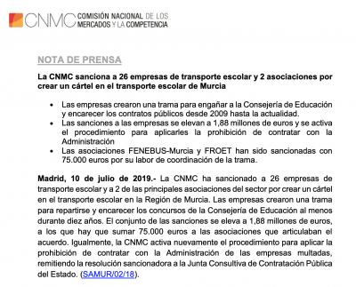 Cártel en el transporte escolar en Murcia